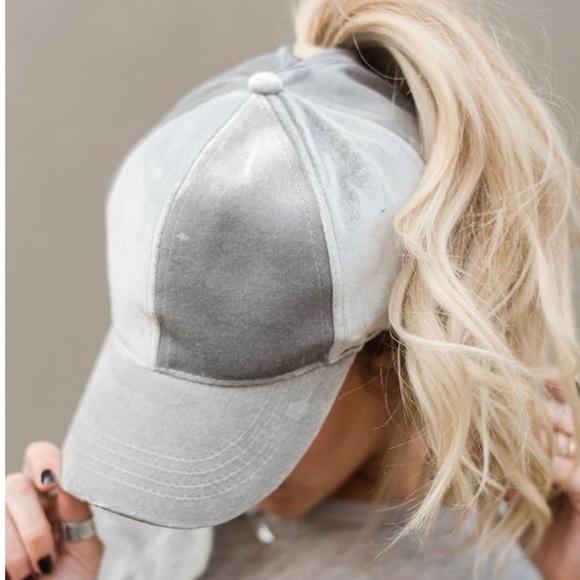 Gray Velvet High Ponytail Baseball Cap Hat New 2857eb9b85e6